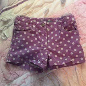 Mini Boden purple polka dot shorts